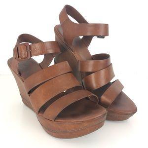 Kork-Ease Wedge Strappy Ankle Strap Sandal Brown 7